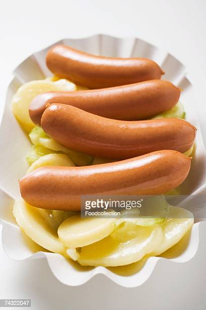 Sausages on potato salad
