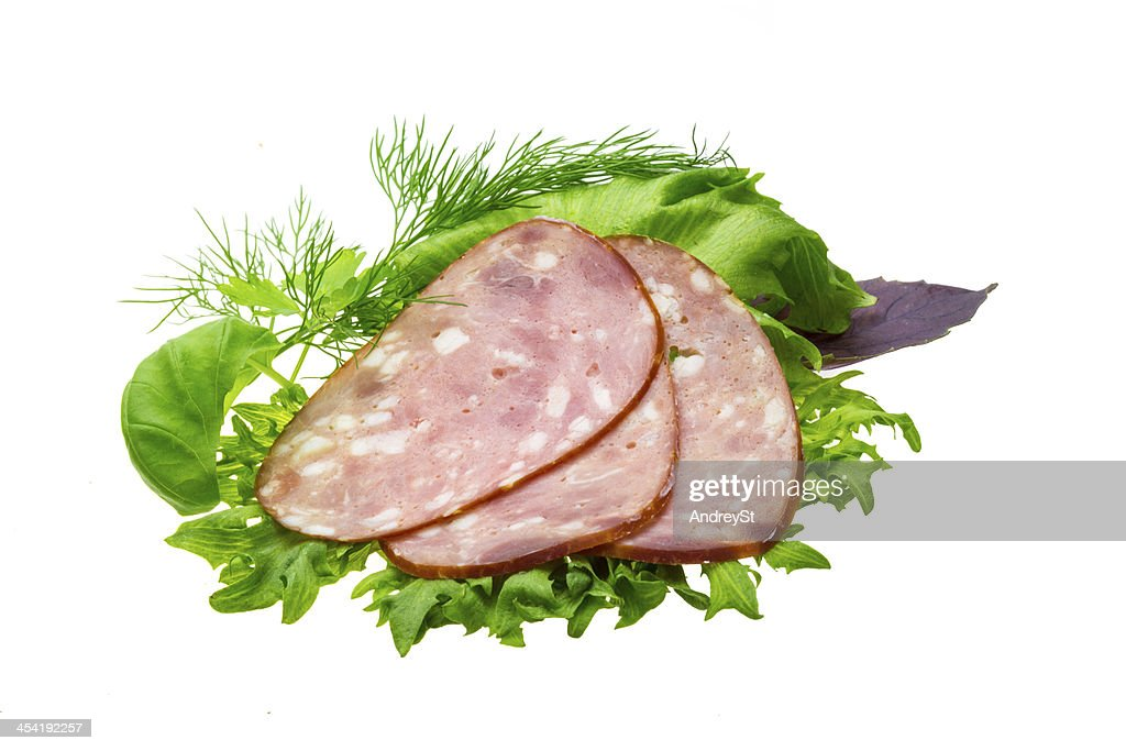 Sausages with salad and basil : Stock Photo