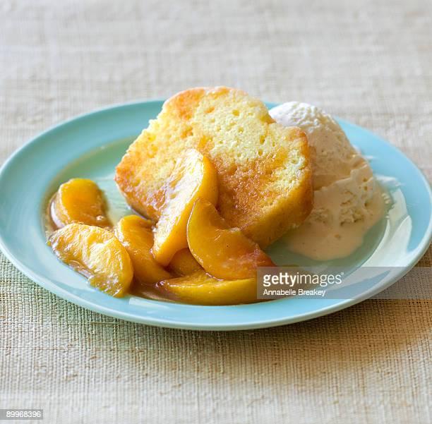 Sauteed peaches over pound cake