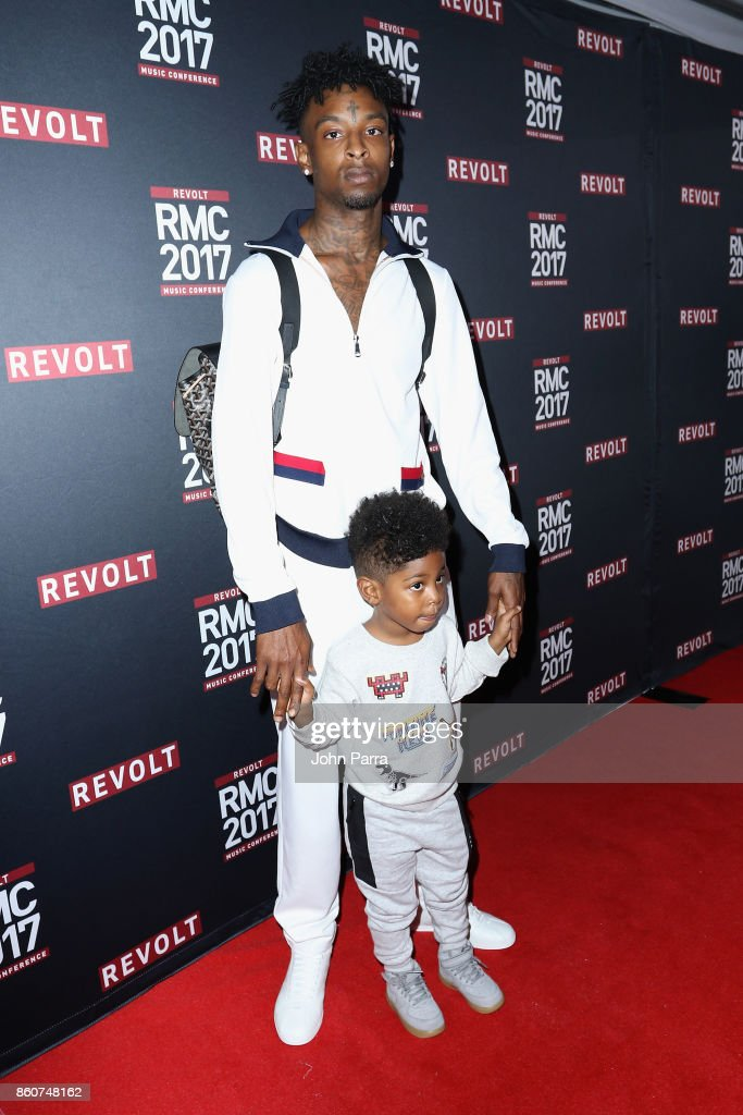 21 Savage attends the 2017 REVOLT Music Conference - Chairman's Welcome Ceremony at Eden Roc Hotel on October 12, 2017 in Miami Beach, Florida.