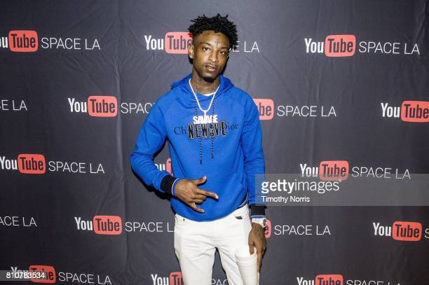 Savage attends the 21 Savage Album Release Event for 'Issa' at YouTube Space LA on July 7 2017 in Los Angeles California