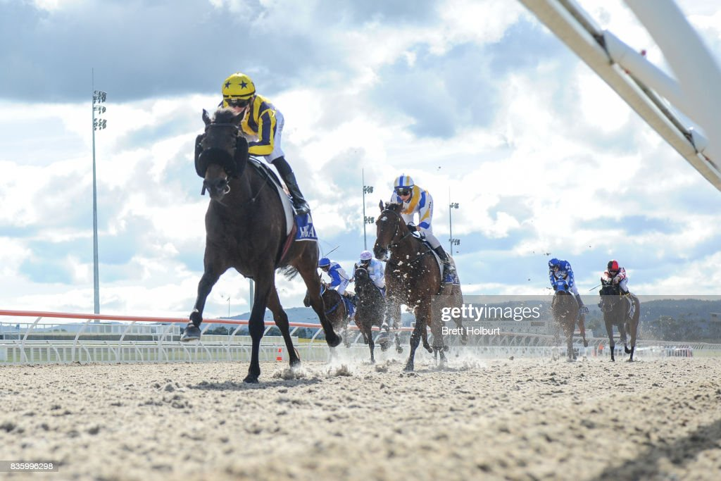 Savaland (NZ) ridden by Ben E Thompson wins the Kentucky Equine Research Super VOBIS Maiden Plate at Racing.com Park Synthetic Racecourse on August 20, 2017 in Pakenham, Australia.
