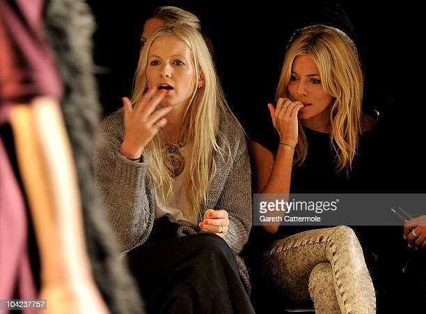Savannah and Sienna Miller prepare backstage before the Twenty8Twelve Spring/Summer 2011 fashion show during LFW on September 18 2010 in London...