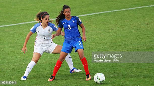 Savannah Demelo of United States defends Sakina Karchaoui of France in the second half of the Group C match of the FIFA U20 Women's World Cup Papua...