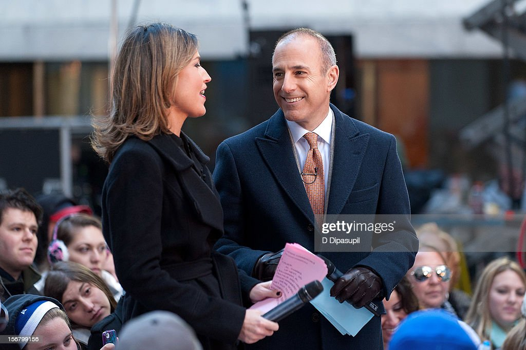 Savannah Guthrie (L) and Matt Lauer host NBC's 'Today' at Rockefeller Plaza on November 21, 2012 in New York City.