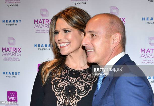 Savannah Guthrie and Matt Lauer of NBC TODAY attend 2017 Matrix Awards at Sheraton New York Times Square on April 24 2017 in New York City