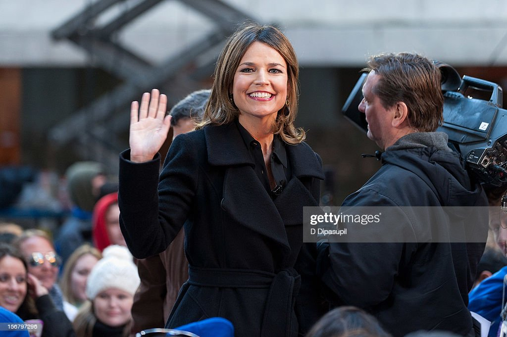 <a gi-track='captionPersonalityLinkClicked' href=/galleries/search?phrase=Savannah+Guthrie&family=editorial&specificpeople=653313 ng-click='$event.stopPropagation()'>Savannah Guthrie</a> (C) hosts NBC's 'Today' at Rockefeller Plaza on November 21, 2012 in New York City.