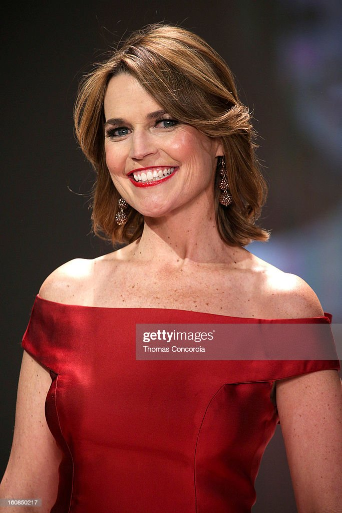 Savannah Guthrie wearing Carolina Herrera walks the runway at The Heart Truth's Red Dress Collection during Fall 2013 Mercedes-Benz Fashion Week at Hammerstein Ballroom on February 6, 2013 in New York City.