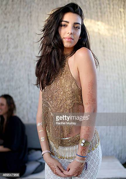 Savannah Hudson of the band The Heirs wearing a gold beaded halter she made during the 2015 Coachella Valley Music and Arts Festival Weekend 1 at The...