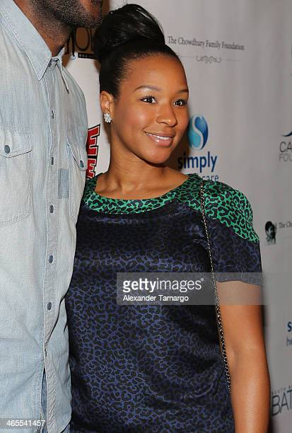 Savannah James arrives at South Beach Battioke 2014 at Fillmore Miami Beach on January 27 2014 in Miami Beach Florida