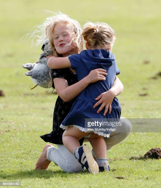 Savannah Phillips and Mia Tindall attend the Maserati Royal Charity Polo Trophy Match during the Gloucestershire Festival of Polo at the Beaufort...