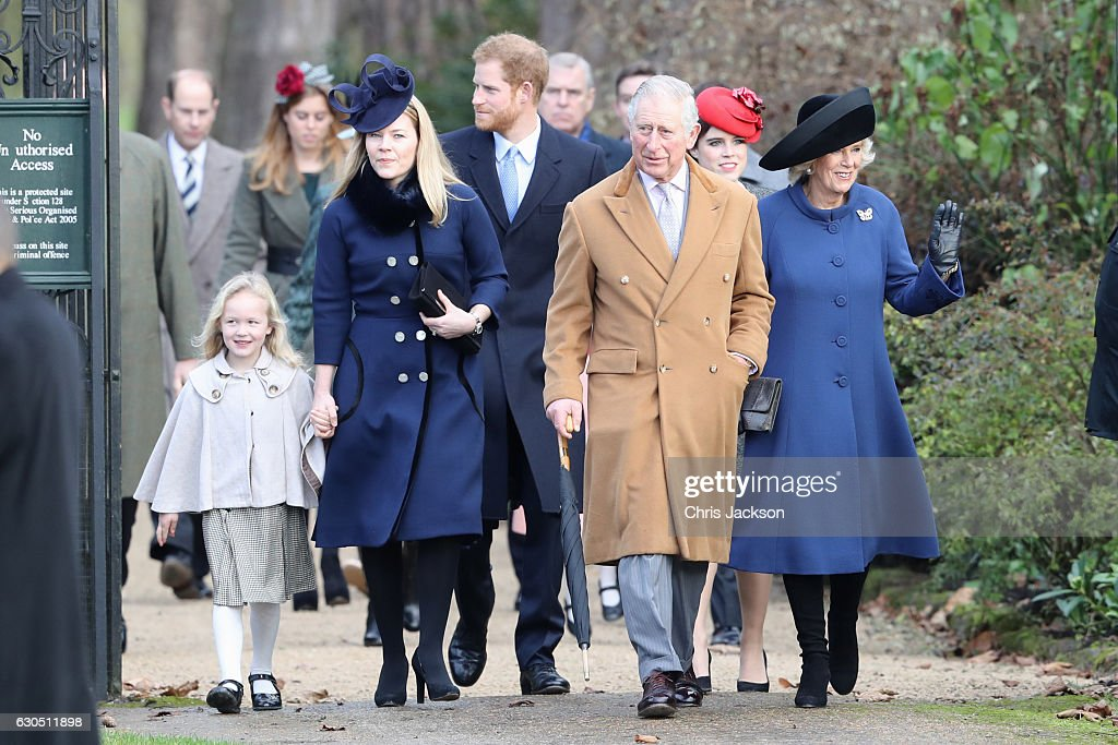 Savannah Phillips, Autumn Phillips, Prince Harry, Prince Charles, Prince of Wales, Princess Eugenie and Camilla, Duchess of Cornwall attend a Christmas Day church service at Sandringham on December 25, 2016 in King's Lynn, England.