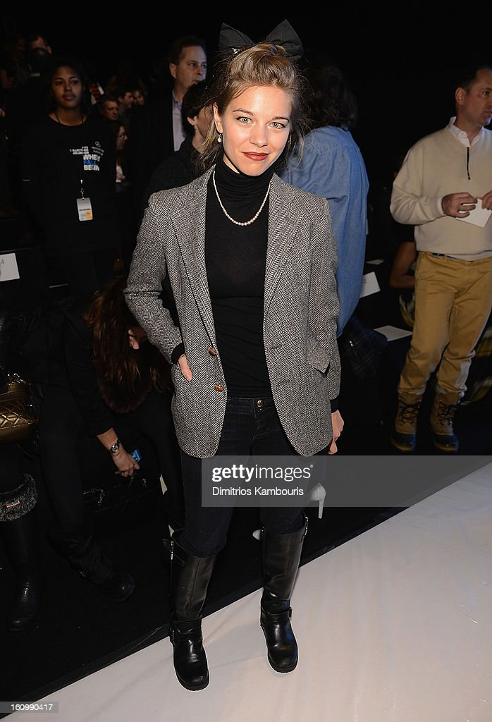 <a gi-track='captionPersonalityLinkClicked' href=/galleries/search?phrase=Savannah+Wise&family=editorial&specificpeople=5570354 ng-click='$event.stopPropagation()'>Savannah Wise</a> attends Rebecca Minkoff during Fall 2013 Mercedes-Benz Fashion Week at The Theatre at Lincoln Center on February 8, 2013 in New York City.