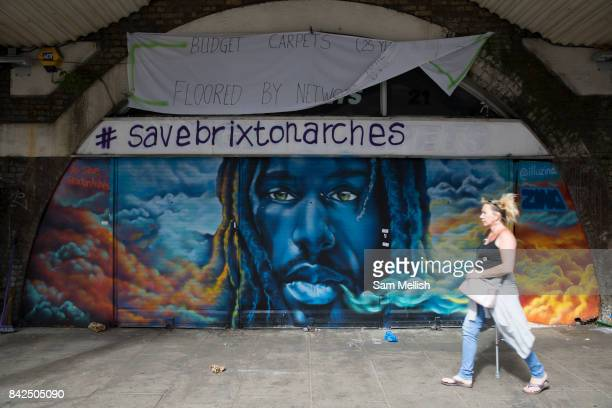 Save Brixton Arches campaign messages along Atlantic Road on 23rd July 2015 in South London United Kingdom Numerous local businesses face eviction...