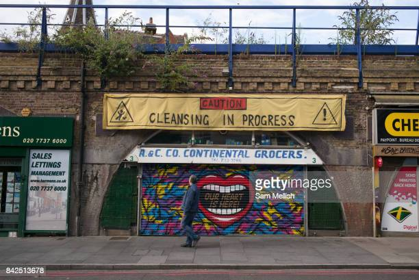 Save Brixton Arches campaign messages along Atlantic Road on 27th July 2015 in South London United Kingdom Numerous local businesses face eviction...