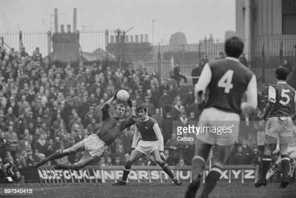 A save by Arsenal goalkeeper Bob Wilson during a League Division One match against Burnley at Highbury London UK 13th December 1969 Arsenal won the...