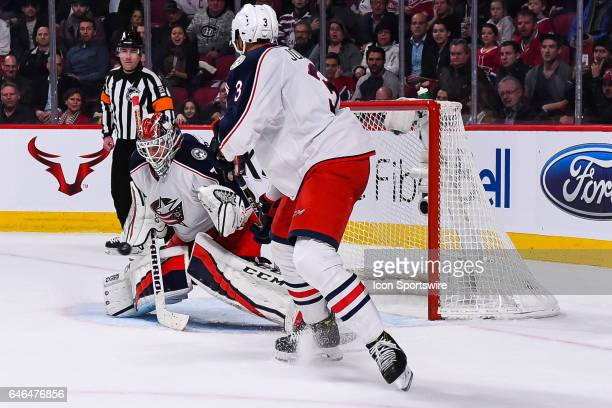 Save from Columbus Blue Jackets Goalie Sergei Bobrovsky during the Columbus Blue Jackets versus the Montreal Canadiens game on February 28 at Bell...
