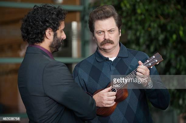 RECREATION 'Save JJ's' Episode 707 Pictured Jason Mantzoukas as Dennis Feinstein Nick Offerman as Ron Swanson
