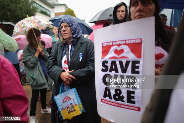Save Stafford Hospital campaigners stand outside Stafford Hospital and listen to the recommendations of administrators of Mid Staffordshire NHS Trust...