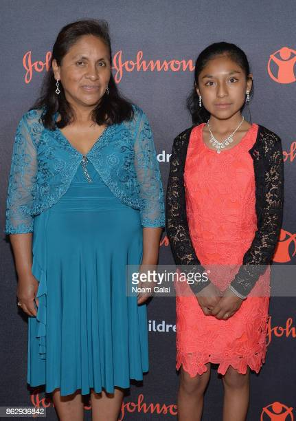 Save the Children beneficiary Nicole and her mother Bernarda attend the 5th Annual Save the Children Illumination Gala at the American Museum of...