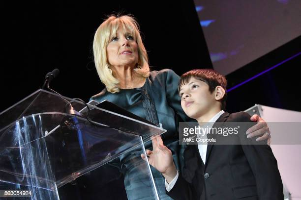 Save the Children Board Chair Dr Jill Biden and Syrian Refugee and Save the Children beneficiary Mahmoud Aloqla speak onstage during the 5th Annual...