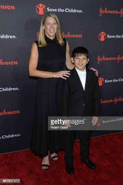 Save the Children President and CEO Carolyn Miles and Syrian Refugee and Save the Children beneficiary Mahmoud Aloqla attend the 5th Annual Save the...