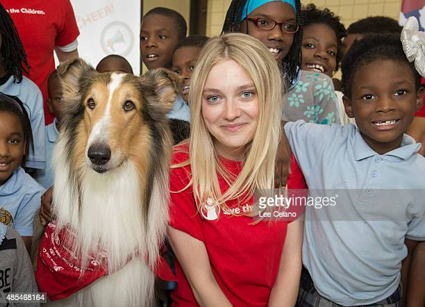 Save the Children's animal ambassador Lassie and Dakota Fanning help join children at a special Katrinaanniversary 'Prep Rally' for New Orleans...