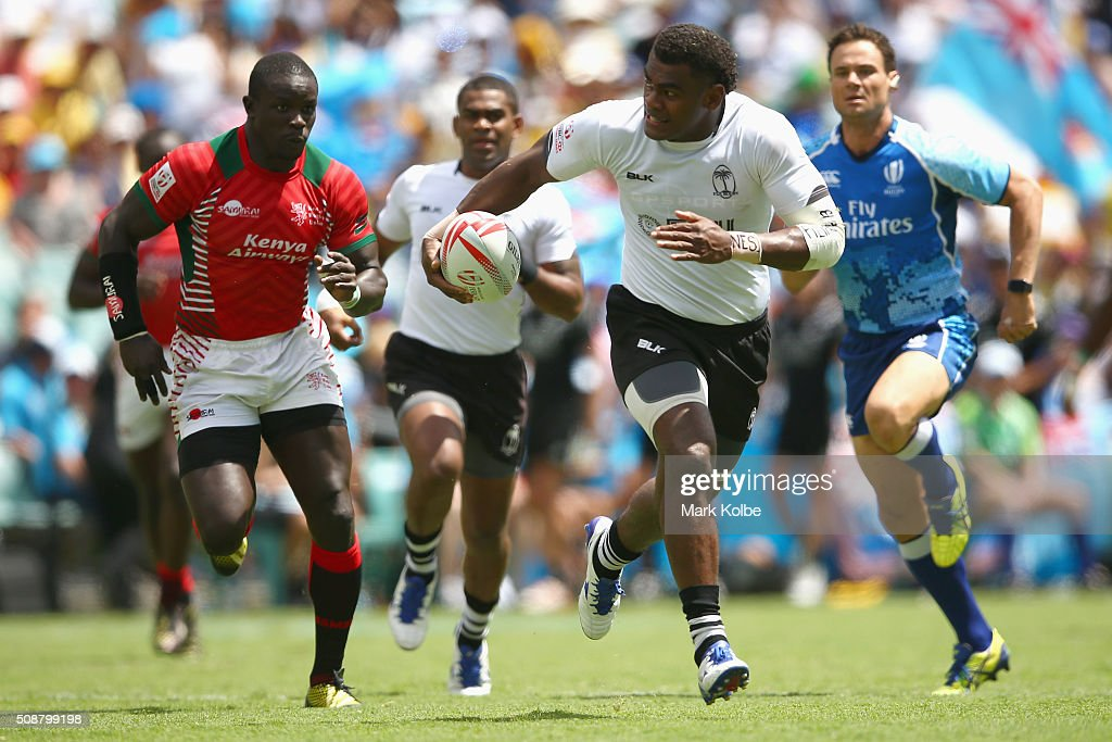 Savenaca Rawaca of Fiji breaks away to score a try during the 2016 Sydney Sevens cup quarter final match between Fiji and Kenya at Allianz Stadium on February 7, 2016 in Sydney, Australia.