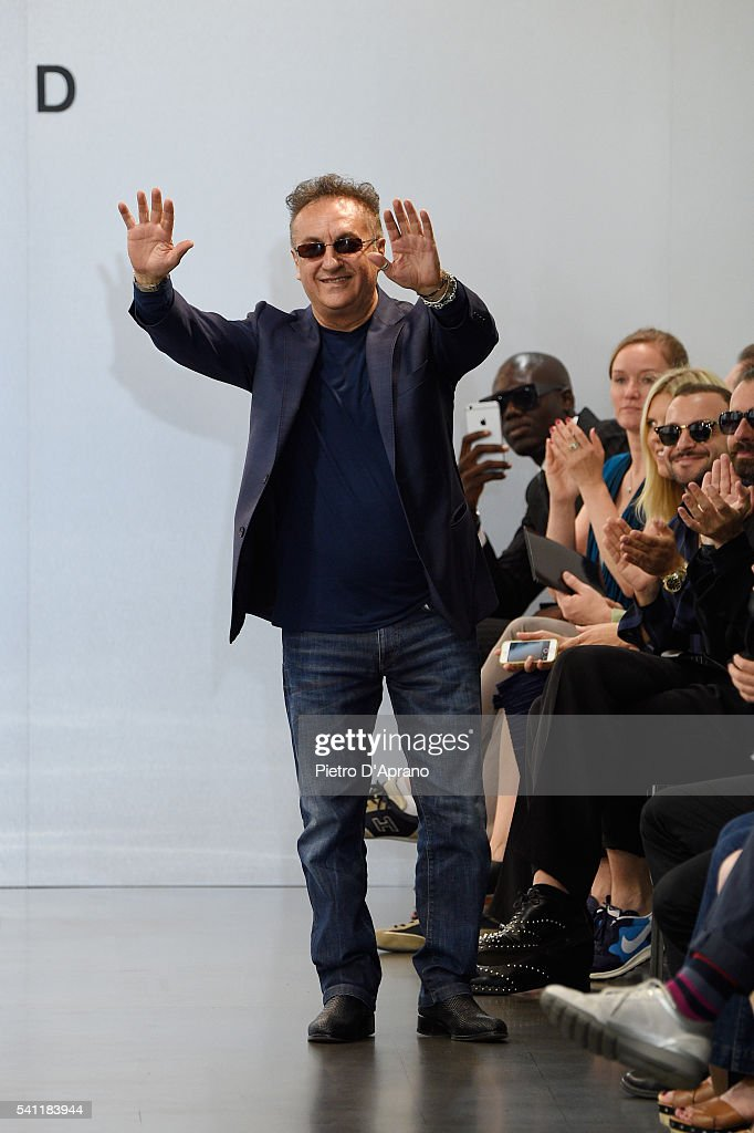 Saverio Moschillo acknowledges the applause of the audience after the Richmond show during Milan Men's Fashion Week Spring/Summer 2017 on June 19, 2016 in Milan, Italy.
