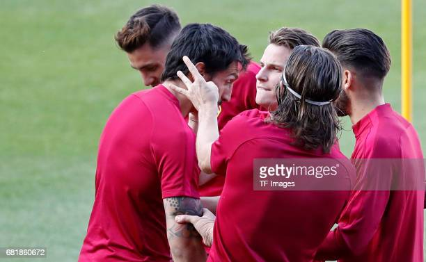 Savic Kevin Gameiro Filipe Luis Yannick Carrasco and Jose María Giménez of Atletico Madrid looks on during a training session ahead of the UEFA...
