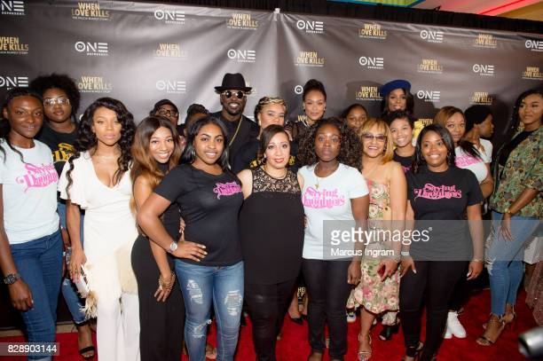 Saving our Daughters and cast member of 'When Love Kills The Falicia Blakely Story' pose for a group photo at Regal Atlantic Station on August 9 2017...