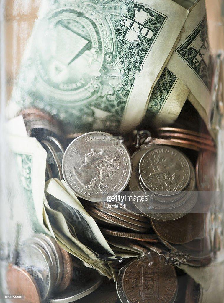 Savings in jar : Stock Photo