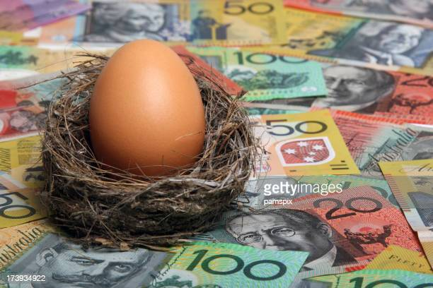 Savings Nest Egg with Australian Currency