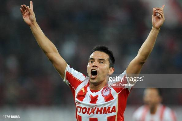 Saviola of Olympiacos FC celebrates a goal during the greek Super League match between Olympiacos FC and Atromitos FC at Karaiskakis Stadium on...