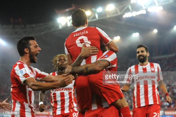 Saviola of Olympiacos FC celebrates with his team mates after scoring during the greek Super League match between Olympiacos FC and Atromitos FC at...