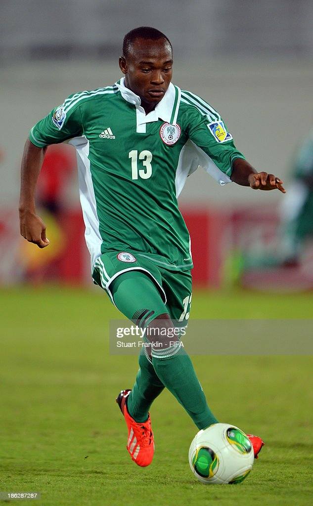 Saviour Godwin of Nigeria in action during the round of 16 match between Nigeria and Iran at Khalifa Bin Zayed Stadium on October 29, 2013 in Al Ain, United Arab Emirates.
