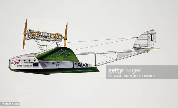 SavoiaMarchetti S55 seaplane Societa' Aerea Mediterranea Italy drawing