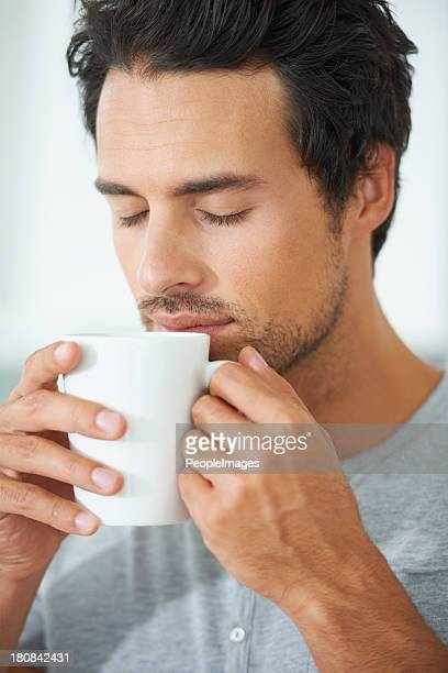 Savoring the sweet aroma of freshly brewed coffee