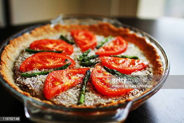 Savory asparagus and tomato quiche pies