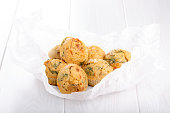 Savory cheese maffins with basil and sun-dried tomato