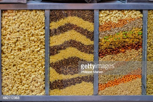 Savory Indian snacks for sale in Jaipur market : Stock Photo