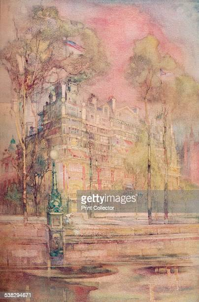 Savoy Hotel London c1905 The Savoy Hotel as seen from the River Thames One of London's most luxurious hotels the Savoy was opened by Richard d'Oyly...