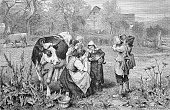 Savoyards children with a cow savoy france historic wood engraving ca 1880