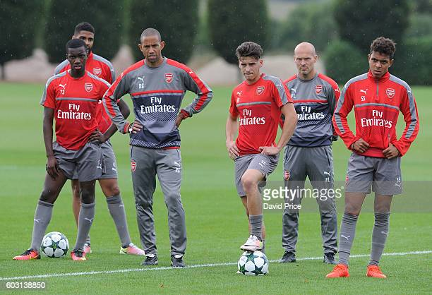 Savvas Mourgos and Donyell Malen of Arsenal during the Arsenal UEFA Youth League Training Session at London Colney on September 12 2016 in St Albans...
