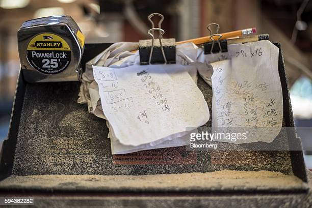 Saw dust covers notes and measuring tape at the Spotted Owl Timber Inc mill in Santa Fe New Mexico US on Monday Aug 15 2016 Founded in 1991 the...