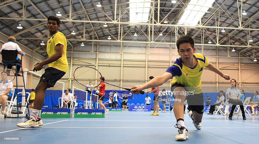 Sawan Serasinghe and Matthew Chau of Australia during the mens doubles badminton teams event on day one of the 2013 Australian Youth Olympic Festival in the Sports Halls at Sydney Olympic Park Sports Centre on January 16, 2013 in Sydney, Australia.