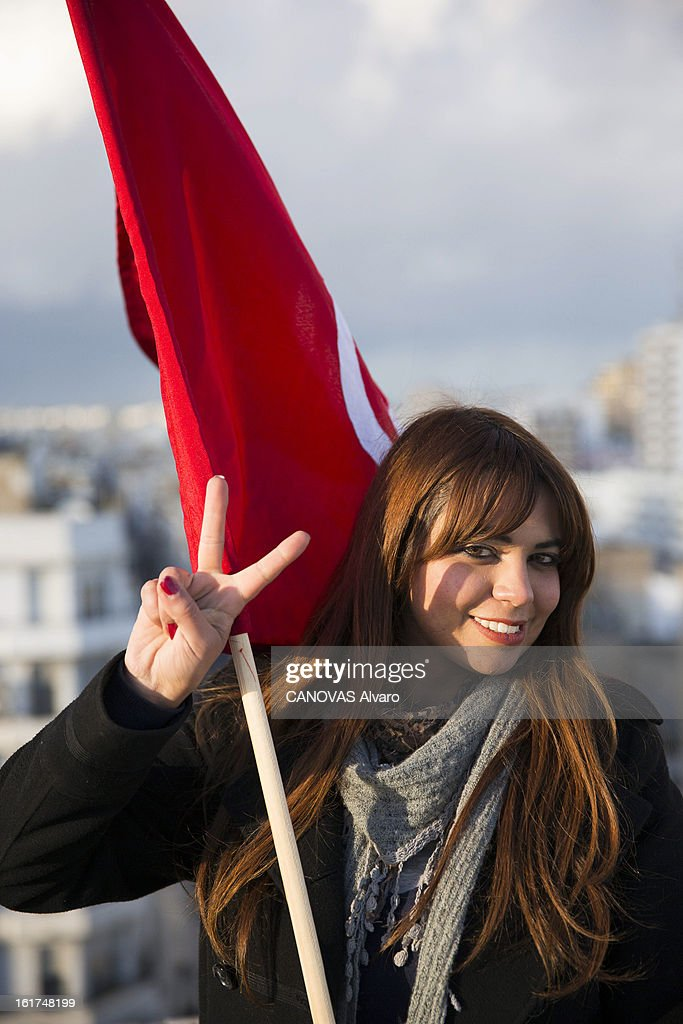 Sawssen Boussaida an opponent of the Ennahda on the roof of the democratic party on February 9, 2013 in Tunis,Tunisia.