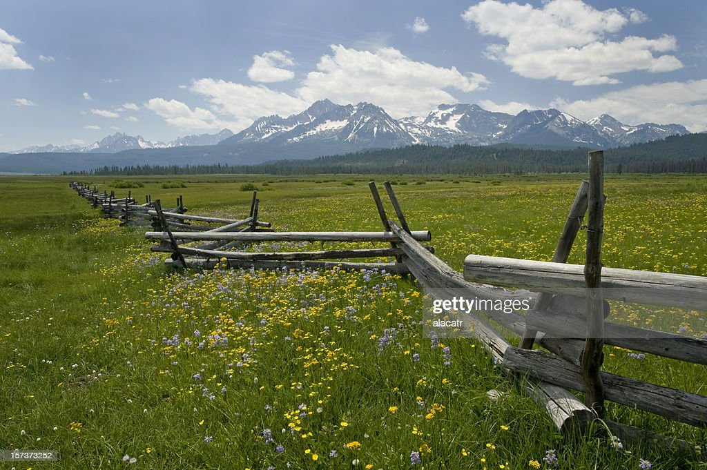 Sawtooth Range and rail fence, Idaho