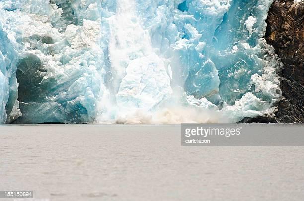 Sawyer Glacier Calving, becoming an iceberg. (2)