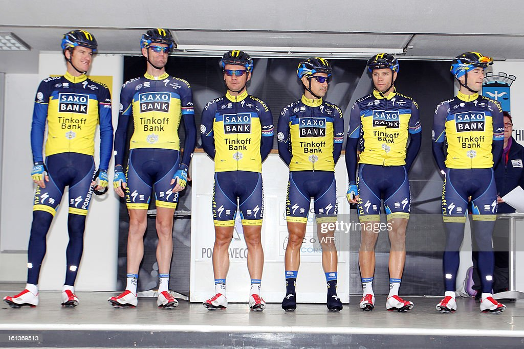 Saxo Bank cycling team members pose before the start of the 82th Criterium International cycling race in Porto Vecchio on March 23, 2013.